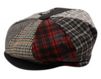 PATCH WORK WOOL BLEND BIG APPLEJACK NEWSBOY CAP BA1780