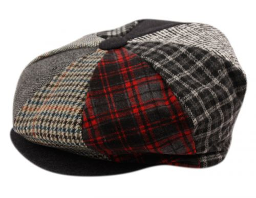 PATCH WORK WOOL BLEND BIG APPLEJACK NEWSBOY CAP BA1780