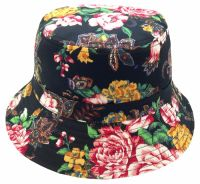 FLORA PRINT BUCKET HATS BK2135 BLACK