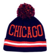 POMPOLM KNIT BEANIE HATS/CHICAGO BN1610 NAVY