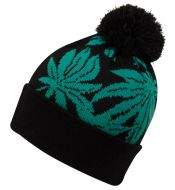 LEAF KNIT BEANIE HATS WITH POM BN2135
