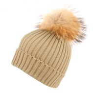 WARM CABLE KNIT BEANIE WITH RACCOON FUR POM POM BN2356