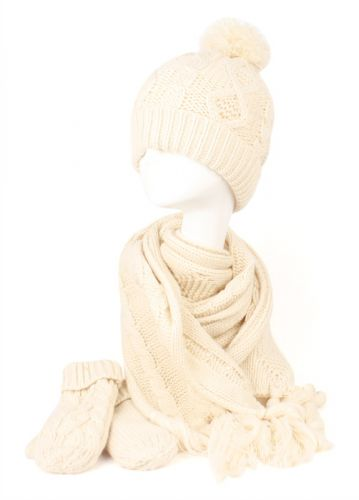 KNIT BEANIE WITH POM POM + SCARF + MITTENS BN2771 SETS
