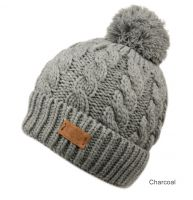 HEAVY KNIT BEANIE WITH POM POM & SHERPA LINING BN3001
