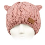CAT EAR CABLE KNIT BEANIE W/SHERPA LINING BN3017