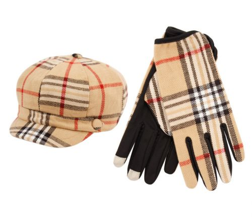 PLAID CABBIE HAT & GLOVE SET CB011-1/GL011-6KHAKI