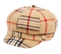 PLAID CABBIE HATS W/SATIN LINING CB011-1 KHAKI