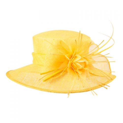 SINAMAY FASCINATOR WITH BIG FLOWER TRIM CC2237