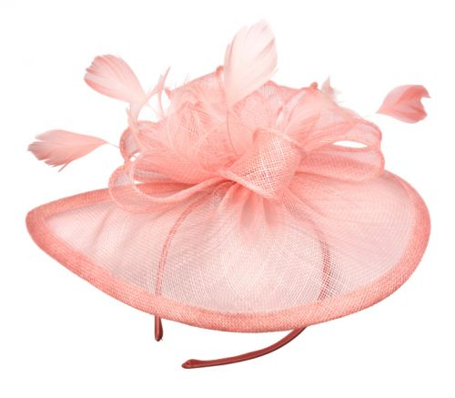 SINAMAY FASCINATOR WITH FLOWER TRIM CC2244