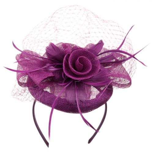 SINAMAY FASCINATOR WITH FLOWER & FEATHER TRIM CC2896