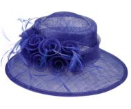 SINAMAY FASCINATOR WITH FLOWER & FEATHER TRIM CC2900