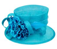 SINAMAY FASCINATOR WITH FLOWER & FEATHER TRIM CC2901