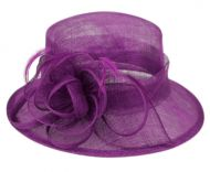 SINAMAY FASCINATOR WITH FLOWER & FEATHER TRIM CC2904