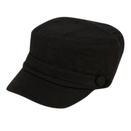 SOLID BLACK MILITARY CADET HAT CD001-2 - Epoch Fashion Accessory