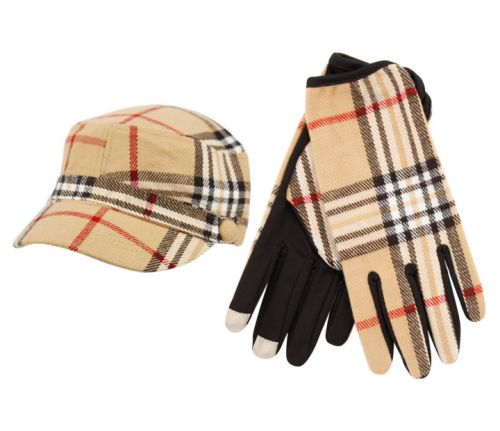 PLAID CADET HAT & GLOVE SET CD011-2/GL011-6KHAKI