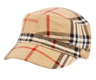 PLAID FASHION CADET HATS W/SATIN LINING CD011-2 KHAKI