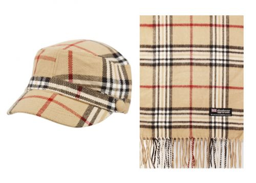 PLAID CADET HAT AND SCARF SET CD011-2/S011 KHAKI