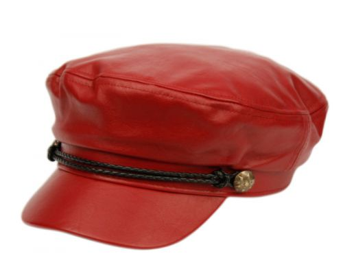 FAUX LEATHER GREEK FISHERMAN HATS WITH BRAID BAND CD3035