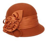 WOOL FELT CLOCHE HAT WITH FLOWER CL1489