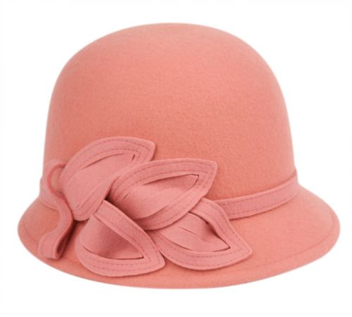 LADIES WOOL FELT CLOCHE WITH FLOWER TRIM AND BAND CL1639