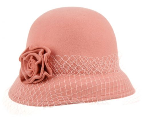 LADIES WOOL FELT BUCKET HATS WITH FLOWER & LACE TRIM CL2161