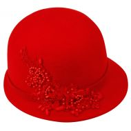 LADIES WOOL FELT HATS WITH EMBROIDERY FLOWER & BAND CL2162
