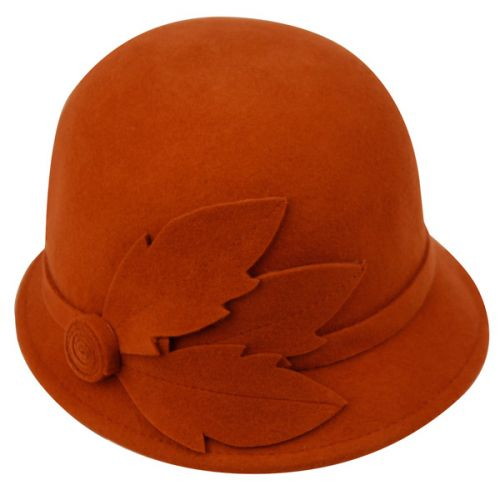 LADIES WOOL FELT CLOCHE WITH LEAF & BAND CL2163