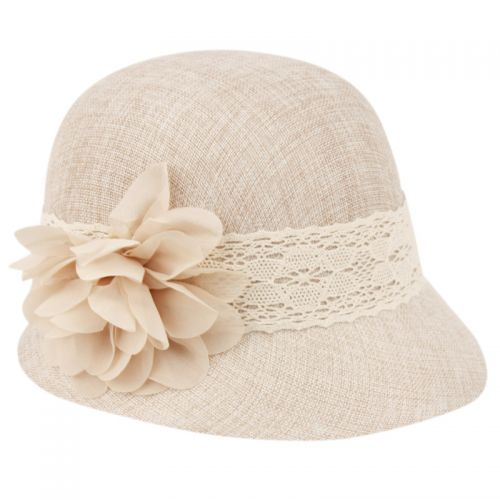 LINEN CLOCHE HATS WITH LACE BAND AND FLOWER CL2265 - Epoch Fashion Accessory d4d2d0bdaaa6
