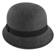 LADIES PLAIN POLY FELT CLOCHE HATS W/GROSGRAIN BAND CL2392
