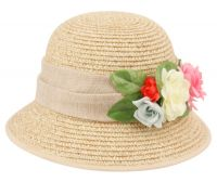 PAPER STRAW BRAID BUCKET HATS WITH FLOWER CL2796