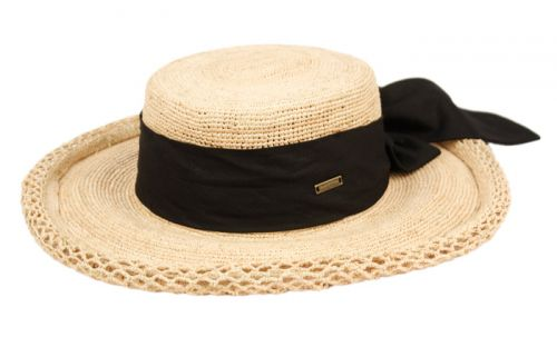 RAFFIA STRAW ROLLED EDGE FLOPPY HATS WITH RIBBON BAND CL4004
