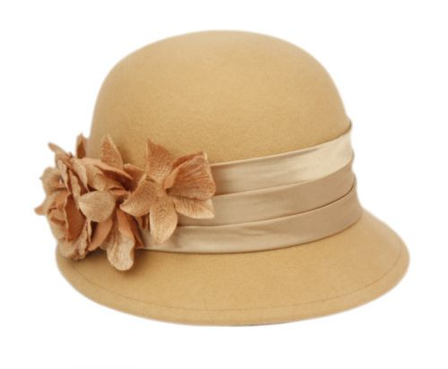 LADIES WOOL FELT HATS WITH FLOWER & VELVET BAND CL4076