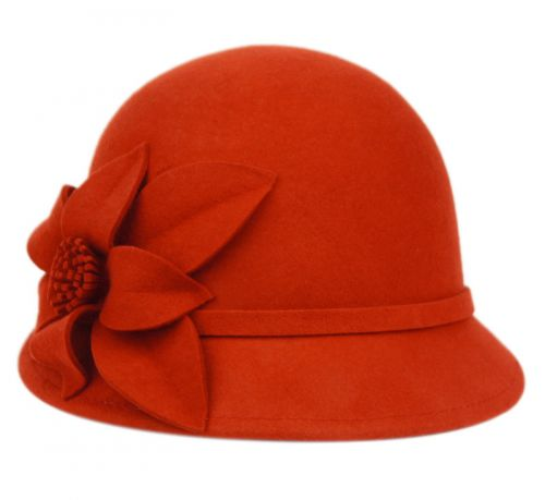 LADIES WOOL FELT HATS WITH SIDE FLOWER CL5028