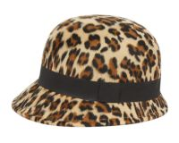 LADIES LEOPARD POLY FELT CLOCHE HATS W/GROSGRAIN BAND CL5030