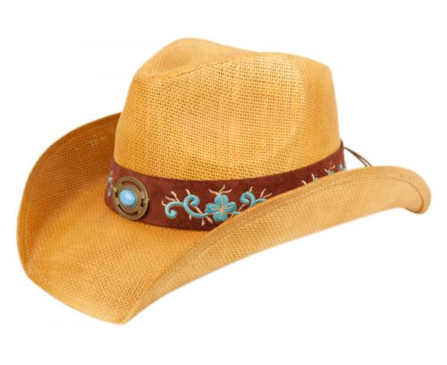 FASHION COWBOY HATS WITH FLORAL TRIM BAND & STUD COW4035