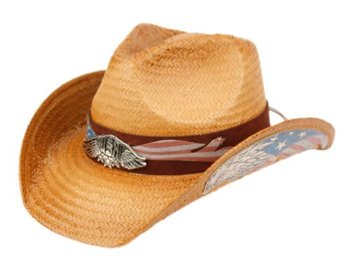 FASHION COWBOY HATS WITH EAGLE BADGE & FLAG TRIM BAND COW4039