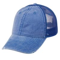 PIGMENT DYED WASHED COTTON TRUCKER CAP WITH MESH CP0333