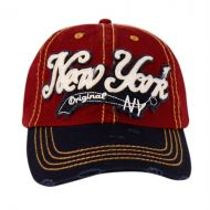 VINTAGE WASHED COTTON BASEBALL CAPS WITH NEW YORK CP1873