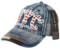 DENIM CAP WITH STITCHING & NYC LOGO CP1876