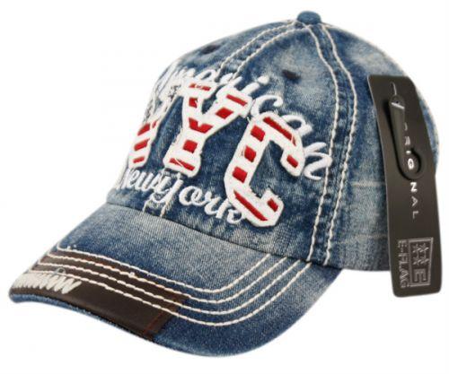 DENIM CAP WITH STITCHING & NYC LOGO CP1876