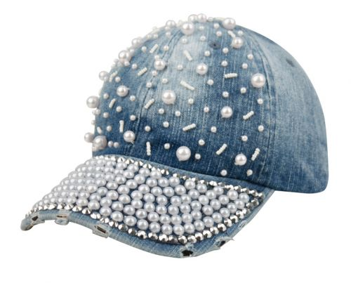 DENIM BASEBALL CAP WITH PEARL CP1885