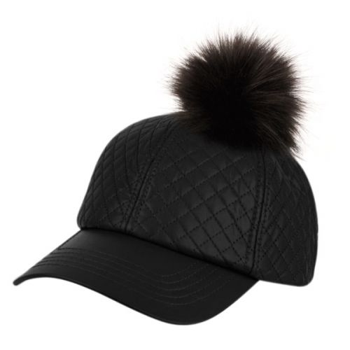 FAUX LEATHER SIX PANEL QUILTED CAP WITH POM POM CP2303BK