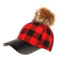 SIX PANEL PLAID WOOL BLEND CAP WITH POM POM & PU VISOR CP2367