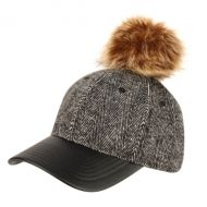 SIX PANEL WOOL BLEND HERRINGBONE CAP WITH POM POM & PU VISOR CP2369