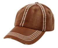 HEAVY STITCH DISTRESSED BRIM WASHED COTTON TWO TONE BASEBALL CAP CP2404