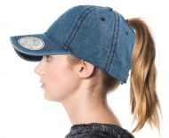PONYTAIL WASHED COTTON BASEBALL CAP CP2762