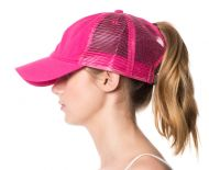 PONYTAIL WASHED COTTON TRUCKER CAP CP2763