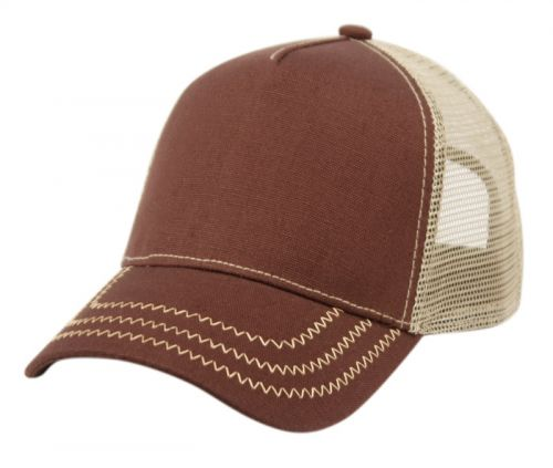 COTTON CANVAS TRUCKER CAP WITH CONTRAST STITCH ON BRIM CP2766