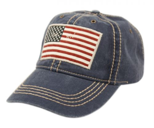 WASHED COTTON BASEBALL CAP WITH AMERICAN FLAG PATCH CP2768