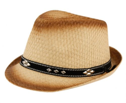 PAPER STRAW FEDORA HATS WITH LEATHER BAND AND STUDS F1421
